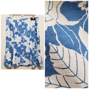 Lane Bryant Blue White Floral Linen Blend Skirt